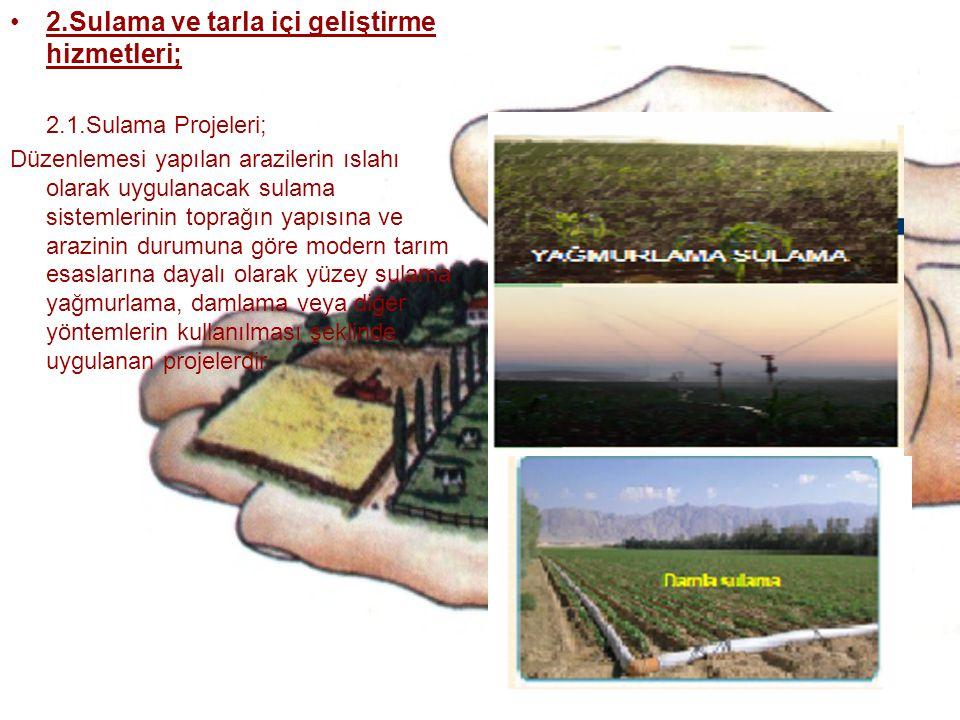2.Sulama ve tarla içi geliştirme hizmetleri;