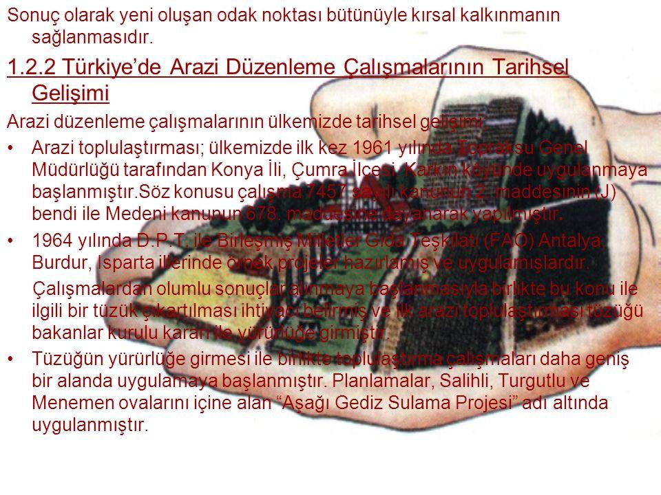 1.2.2 Türkiye'de Arazi Düzenleme Çalışmalarının Tarihsel Gelişimi