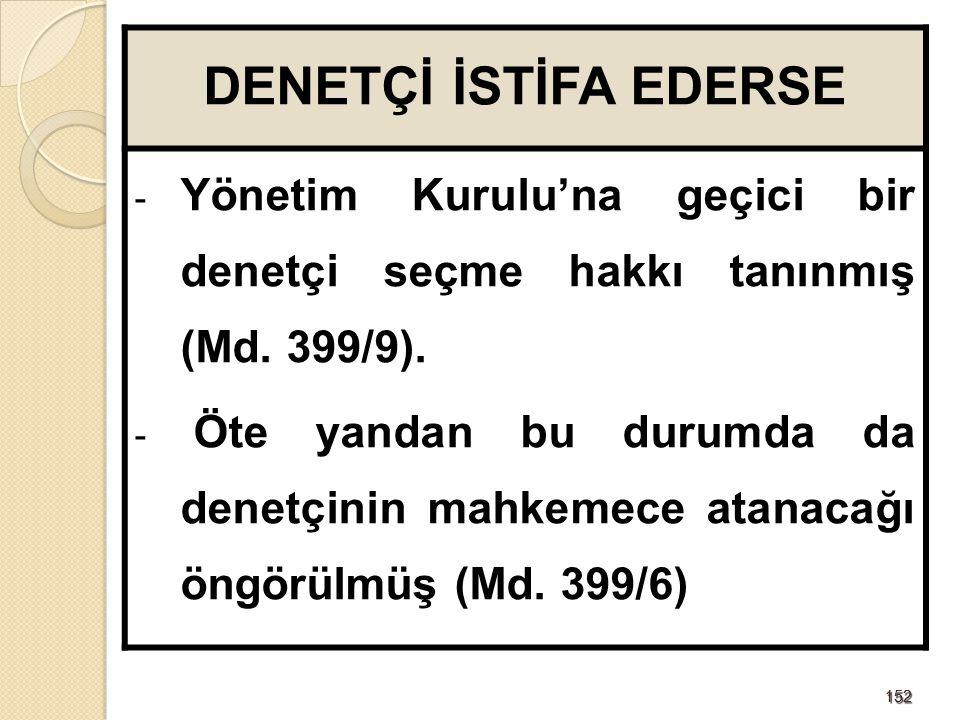 DENETÇİ İSTİFA EDERSE Yönetim Kurulu'na geçici bir denetçi seçme hakkı tanınmış (Md. 399/9).