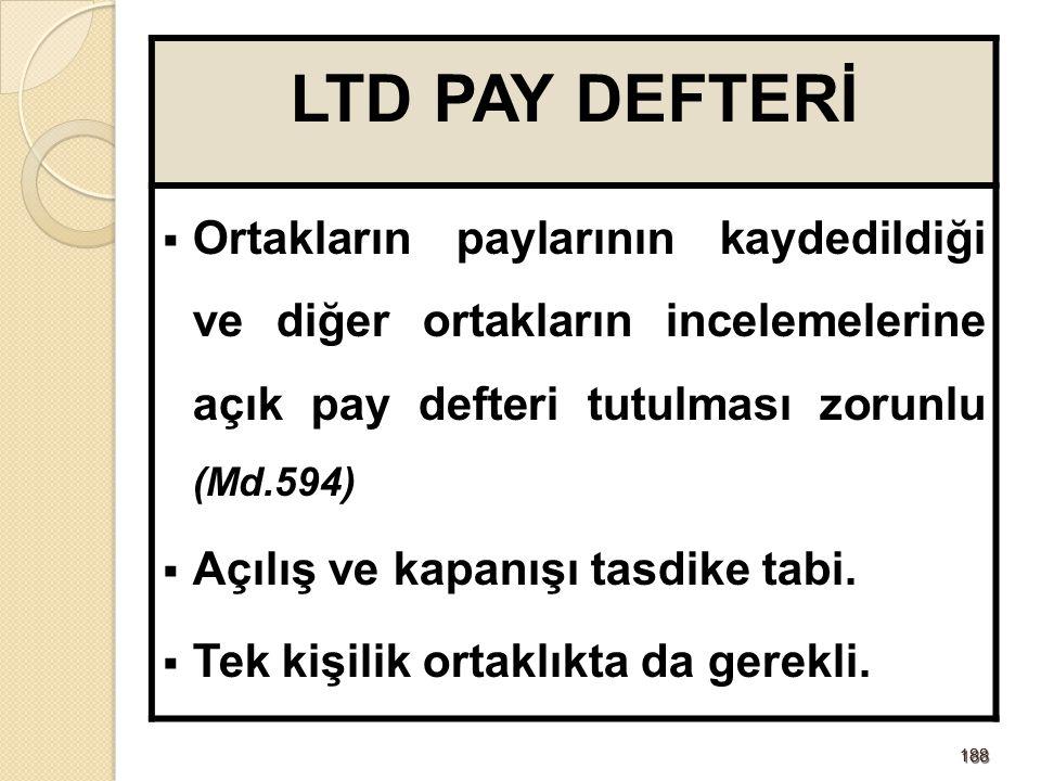 LTD PAY DEFTERİ Ortakların paylarının kaydedildiği ve diğer ortakların incelemelerine açık pay defteri tutulması zorunlu (Md.594)
