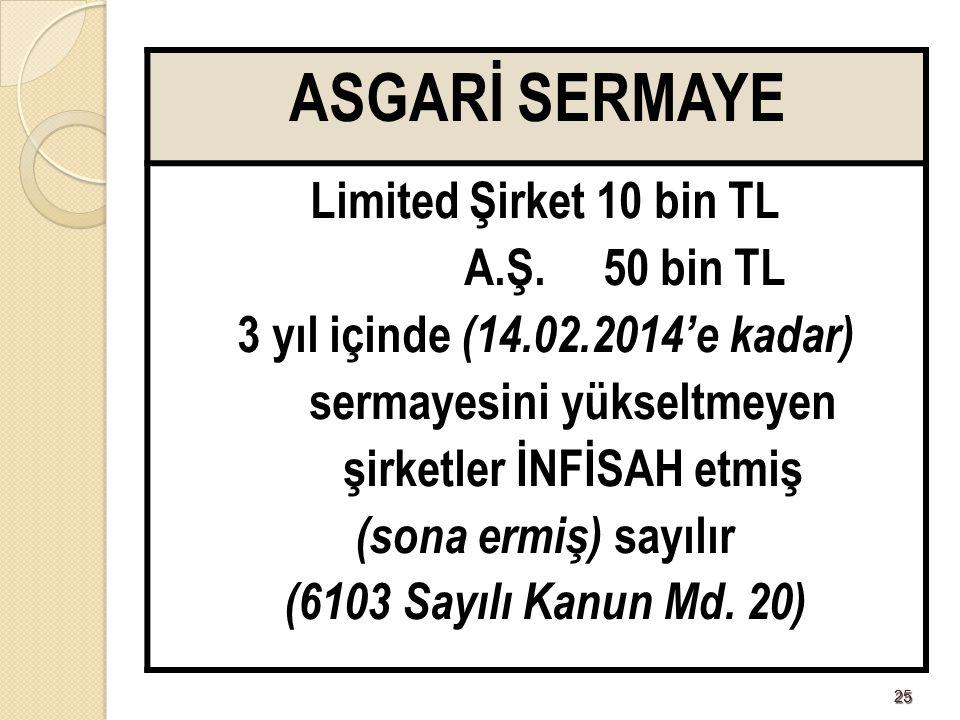 ASGARİ SERMAYE Limited Şirket 10 bin TL A.Ş. 50 bin TL