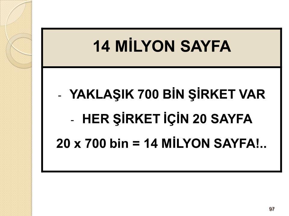YAKLAŞIK 700 BİN ŞİRKET VAR