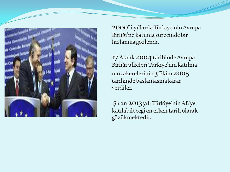 2000 li yıllarda Türkiye nin Avrupa Birliği ne katılma sürecinde bir hızlanma gözlendi.