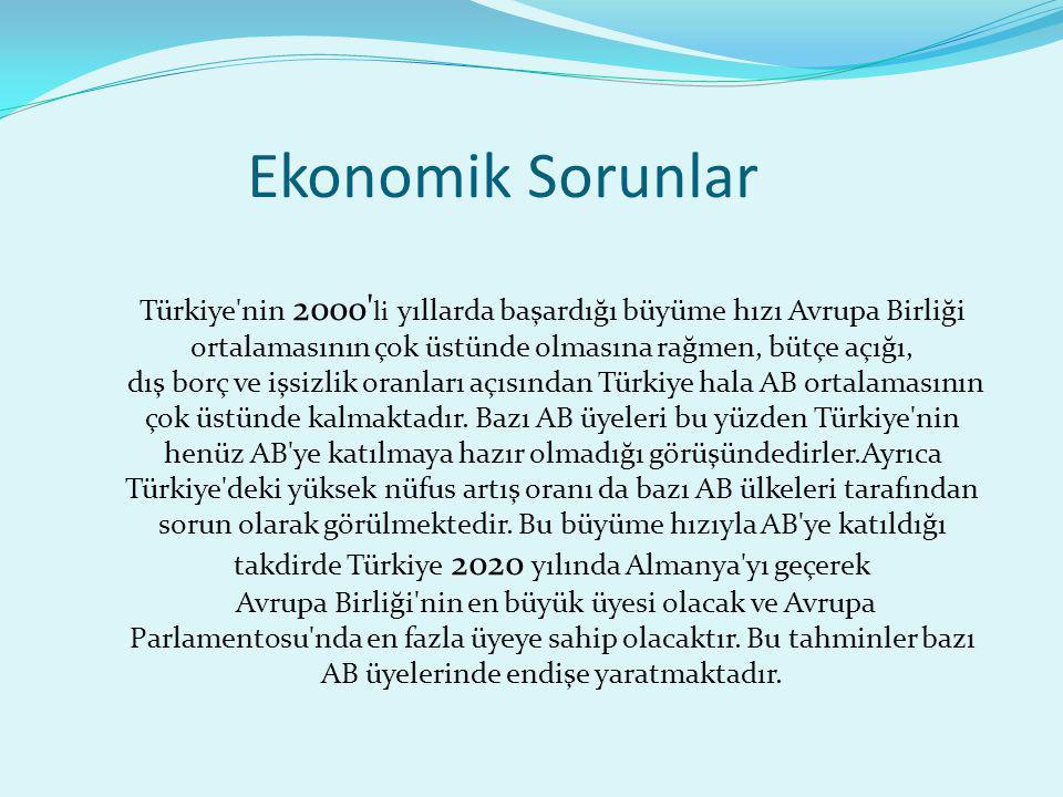 Ekonomik Sorunlar Türkiye nin 2000 li yıllarda başardığı büyüme hızı Avrupa Birliği ortalamasının çok üstünde olmasına rağmen, bütçe açığı,