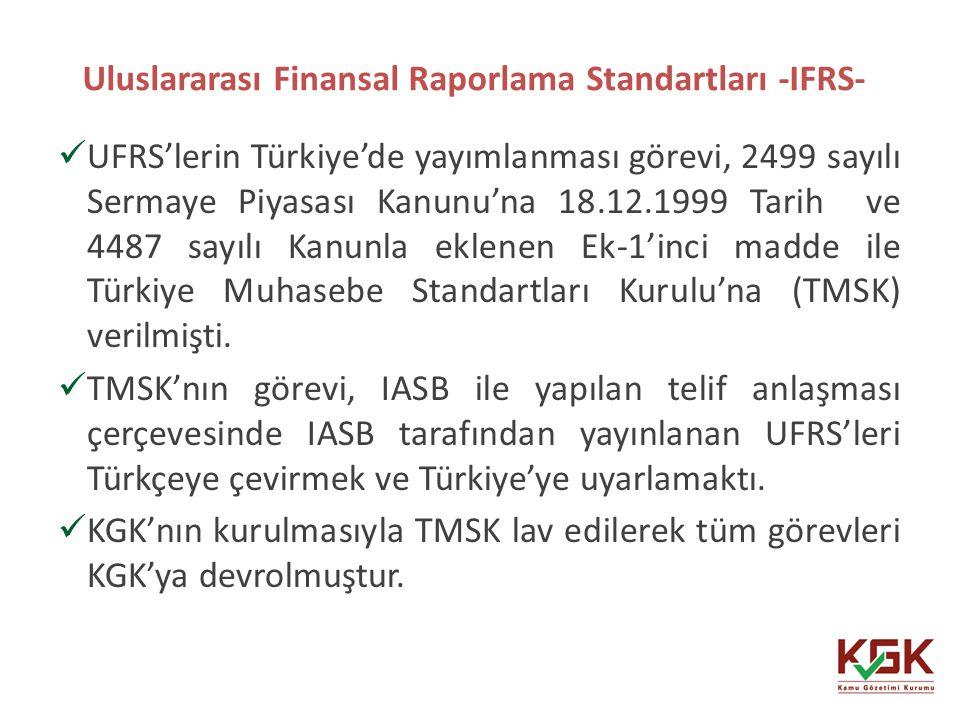 Uluslararası Finansal Raporlama Standartları -IFRS-