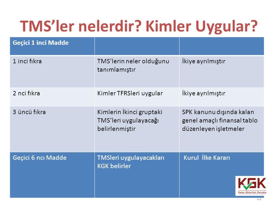 TMS'ler nelerdir Kimler Uygular