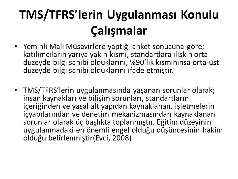 TMS/TFRS'lerin Uygulanması Konulu Çalışmalar