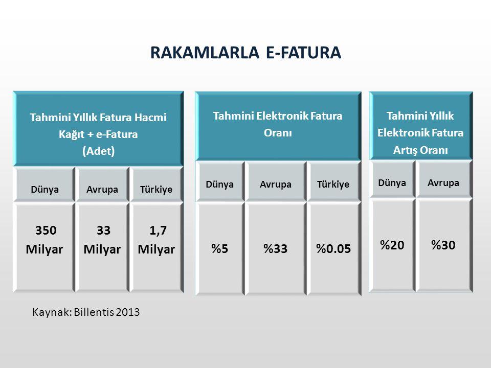 RAKAMLARLA E-FATURA 350 Milyar 33 Milyar 1,7 Milyar %5 %33 %0.05 %20
