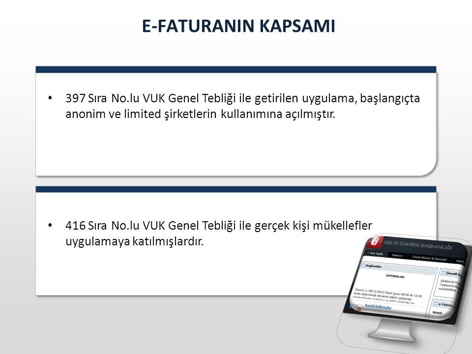 E-FATURANIN KAPSAMI 397 Sıra No.lu VUK Genel Tebliği ile getirilen uygulama, başlangıçta anonim ve limited şirketlerin kullanımına açılmıştır.