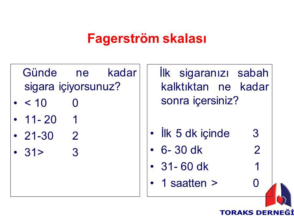 Fagerström skalası Günde ne kadar sigara içiyorsunuz
