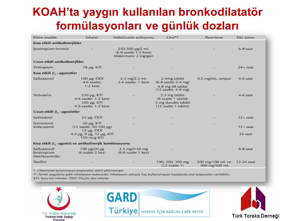 KOAH'ta yaygın kullanılan bronkodilatatör formülasyonları ve günlük dozları