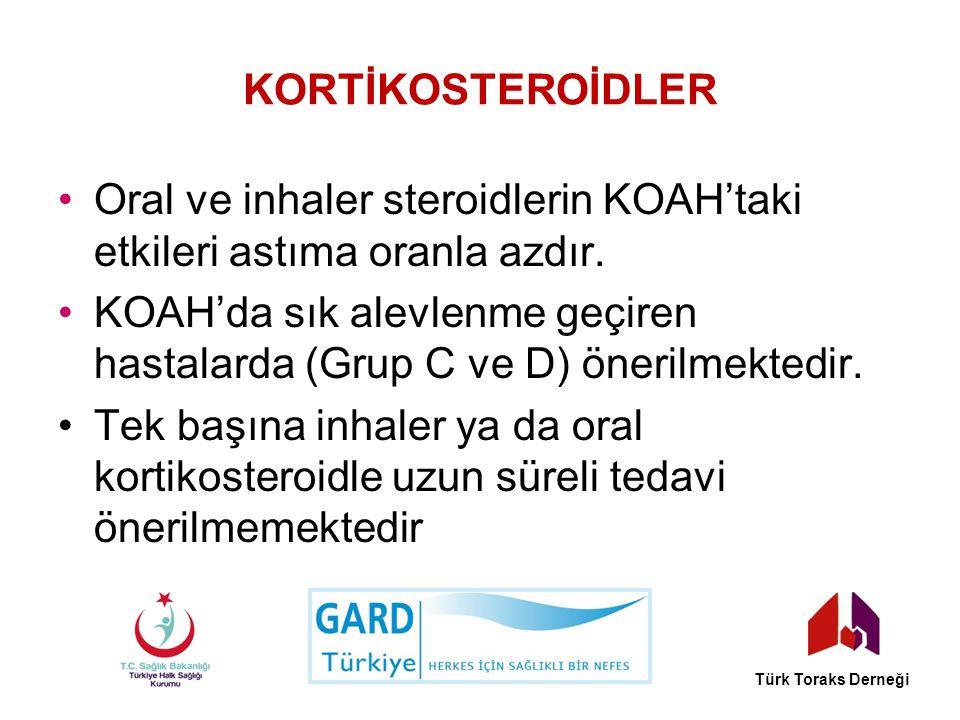 Oral ve inhaler steroidlerin KOAH'taki etkileri astıma oranla azdır.