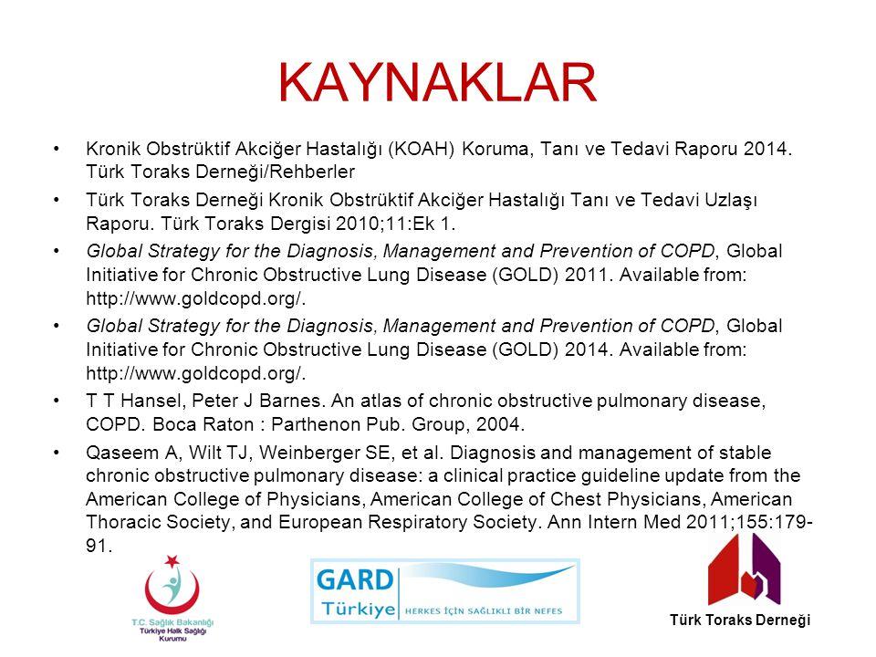 KAYNAKLAR Kronik Obstrüktif Akciğer Hastalığı (KOAH) Koruma, Tanı ve Tedavi Raporu 2014. Türk Toraks Derneği/Rehberler.