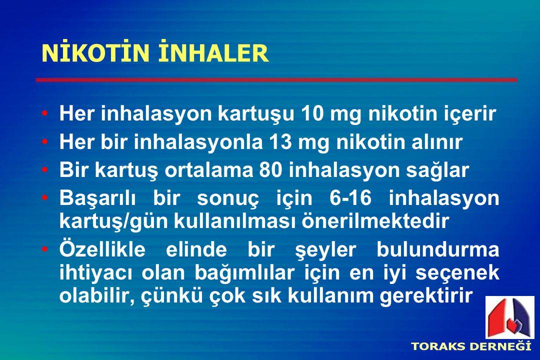 NİKOTİN İNHALER Her inhalasyon kartuşu 10 mg nikotin içerir