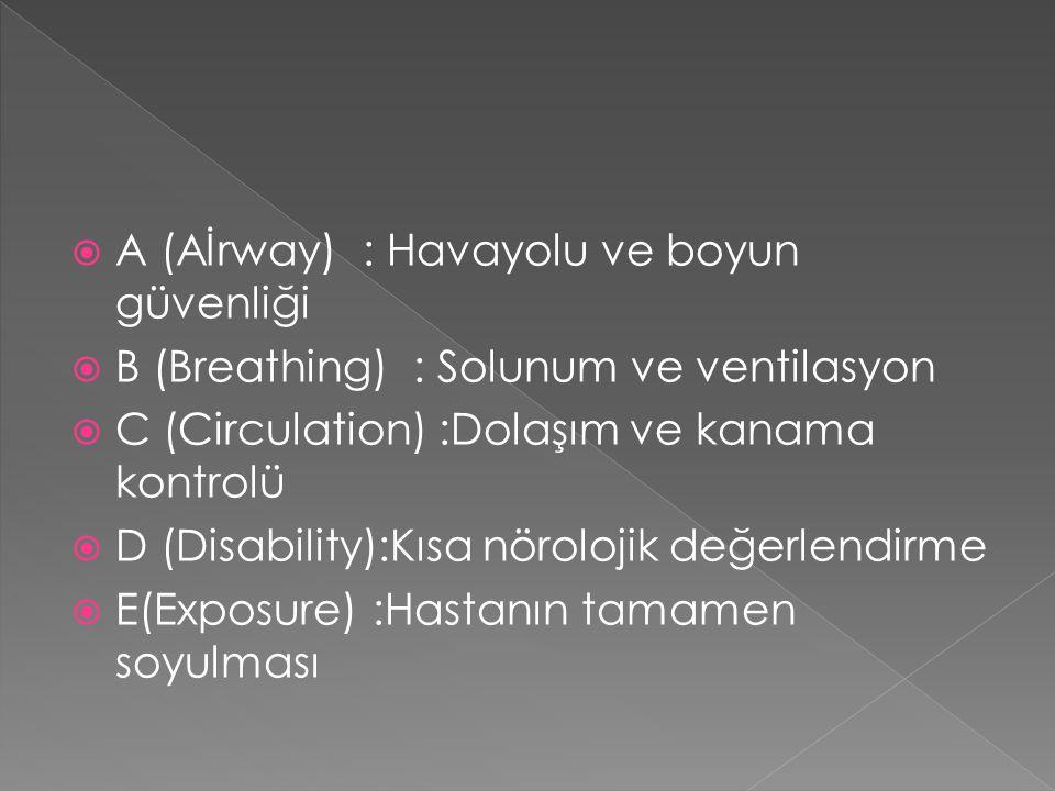 A (Aİrway) : Havayolu ve boyun güvenliği