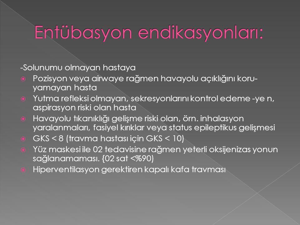 Entübasyon endikasyonları:
