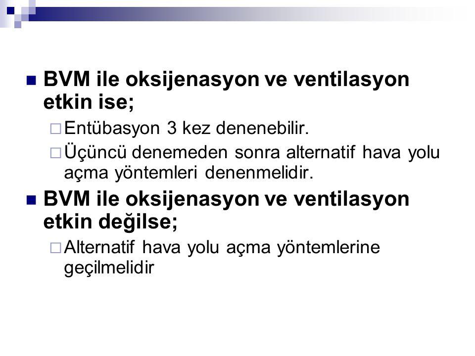BVM ile oksijenasyon ve ventilasyon etkin ise;