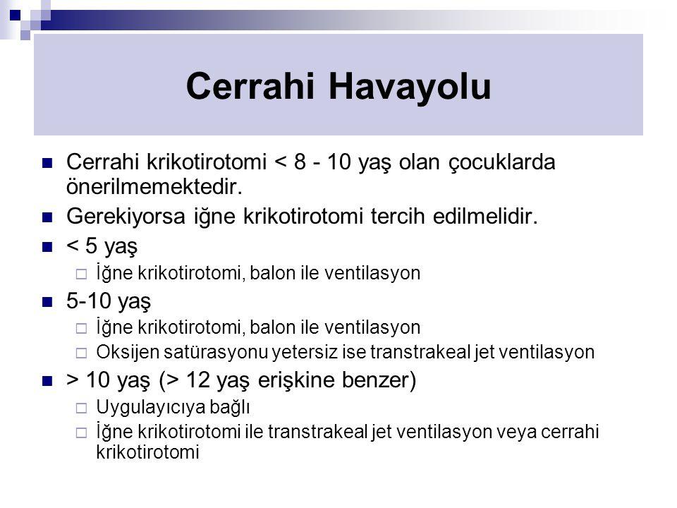 Cerrahi Havayolu Cerrahi krikotirotomi < 8 - 10 yaş olan çocuklarda önerilmemektedir. Gerekiyorsa iğne krikotirotomi tercih edilmelidir.