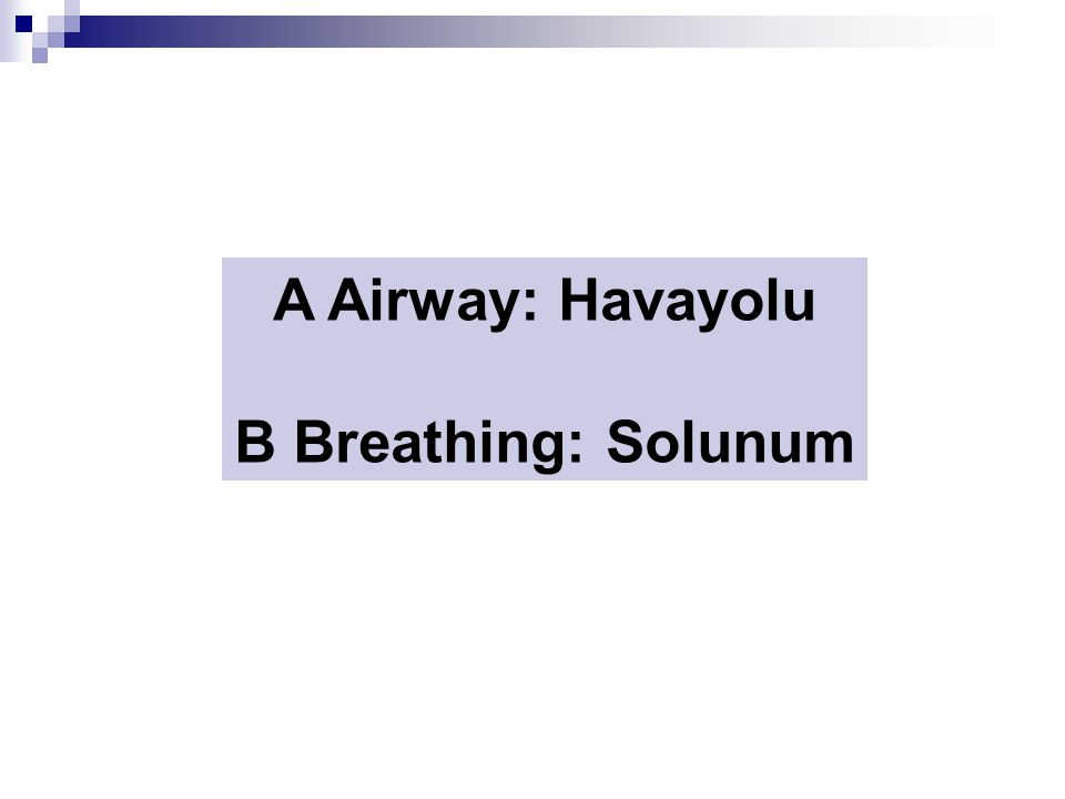 A Airway: Havayolu B Breathing: Solunum
