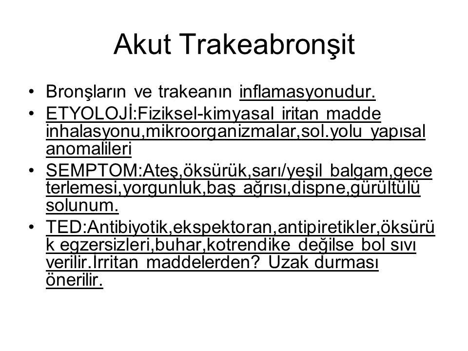 Akut Trakeabronşit Bronşların ve trakeanın inflamasyonudur.
