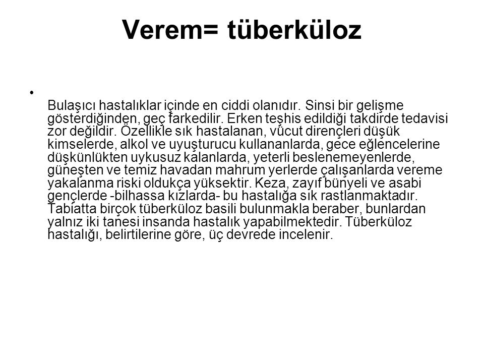 Verem= tüberküloz