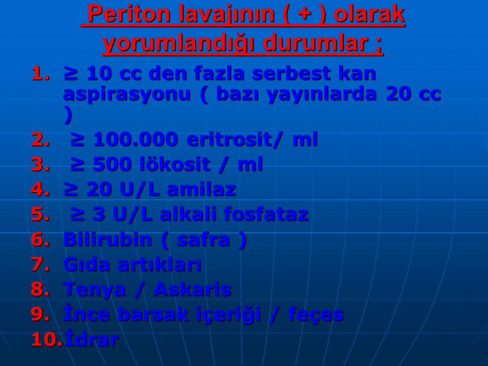 Periton lavajının ( + ) olarak yorumlandığı durumlar ;