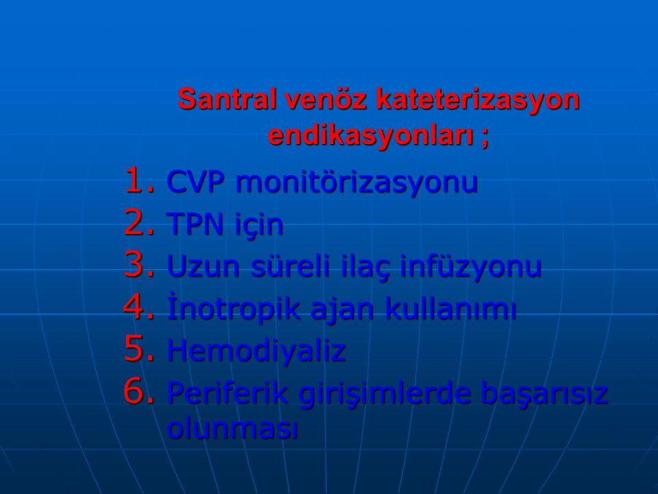 Santral venöz kateterizasyon endikasyonları ;