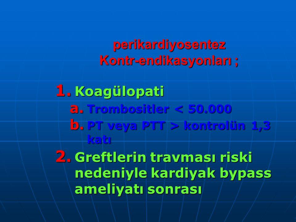 perikardiyosentez Kontr-endikasyonları ;