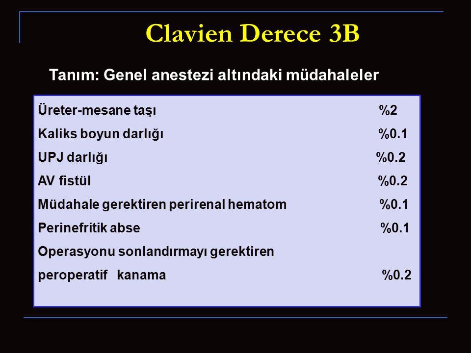 Clavien Derece 3B Tanım: Genel anestezi altındaki müdahaleler