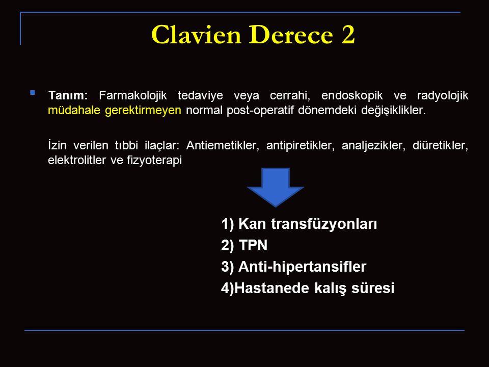 Clavien Derece 2 1) Kan transfüzyonları 2) TPN 3) Anti-hipertansifler