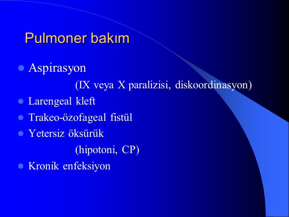 Pulmoner bakım Aspirasyon (IX veya X paralizisi, diskoordinasyon)