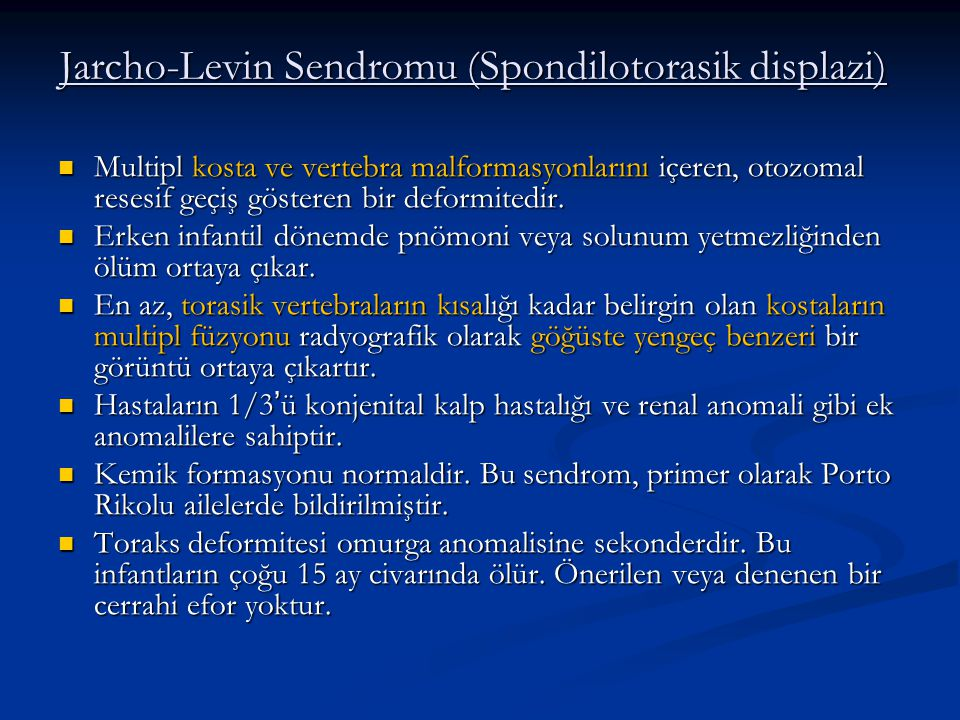 Jarcho-Levin Sendromu (Spondilotorasik displazi)