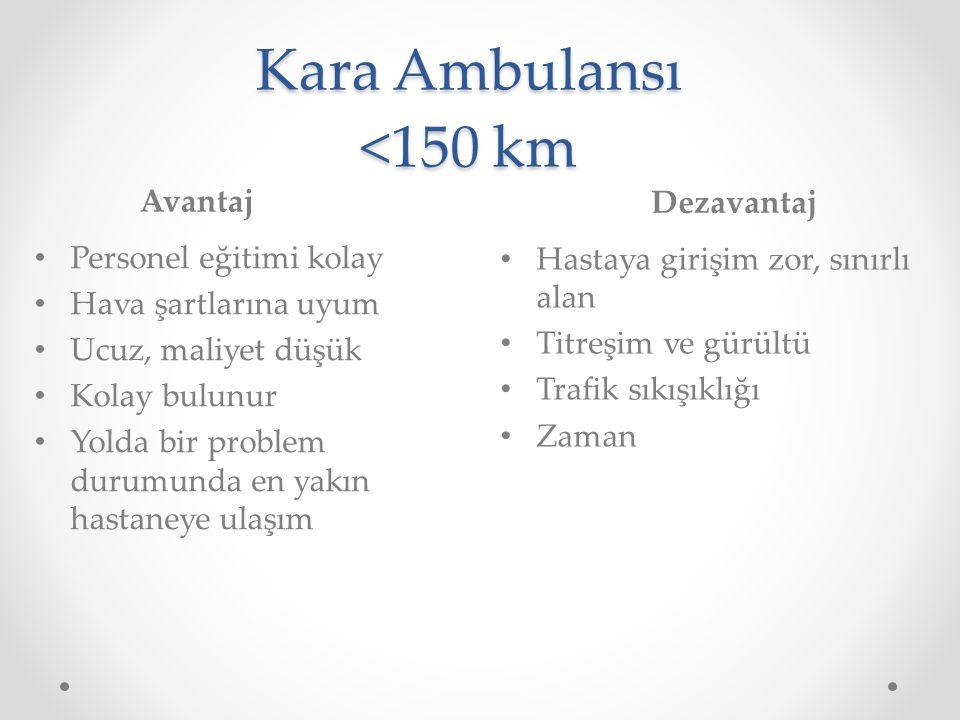 Kara Ambulansı <150 km Avantaj Dezavantaj Personel eğitimi kolay