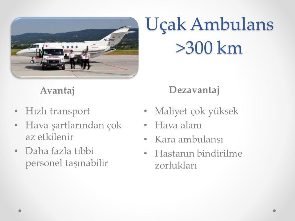 Uçak Ambulans >300 km Avantaj Dezavantaj Hızlı transport