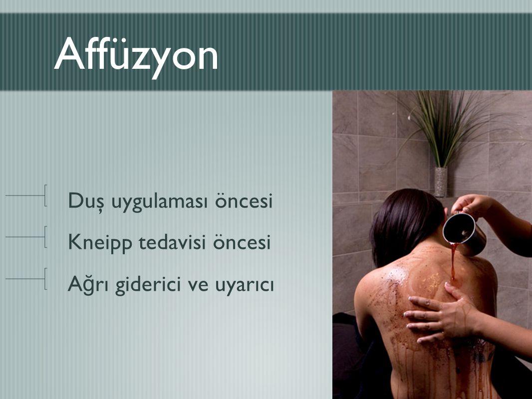 Affüzyon Duş uygulaması öncesi Kneipp tedavisi öncesi