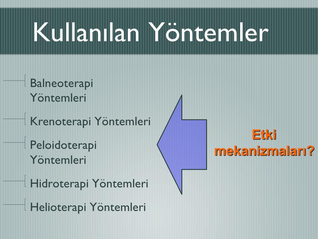 Kullanılan Yöntemler Etki mekanizmaları Balneoterapi Yöntemleri
