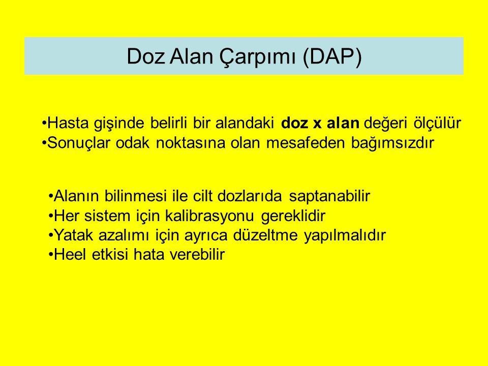 Doz Alan Çarpımı (DAP) Hasta gişinde belirli bir alandaki doz x alan değeri ölçülür. Sonuçlar odak noktasına olan mesafeden bağımsızdır.