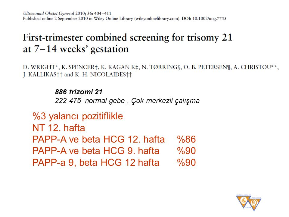%3 yalancı pozitiflikle NT 12. hafta PAPP-A ve beta HCG 12. hafta %86