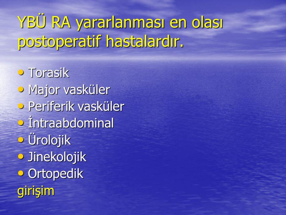 YBÜ RA yararlanması en olası postoperatif hastalardır.