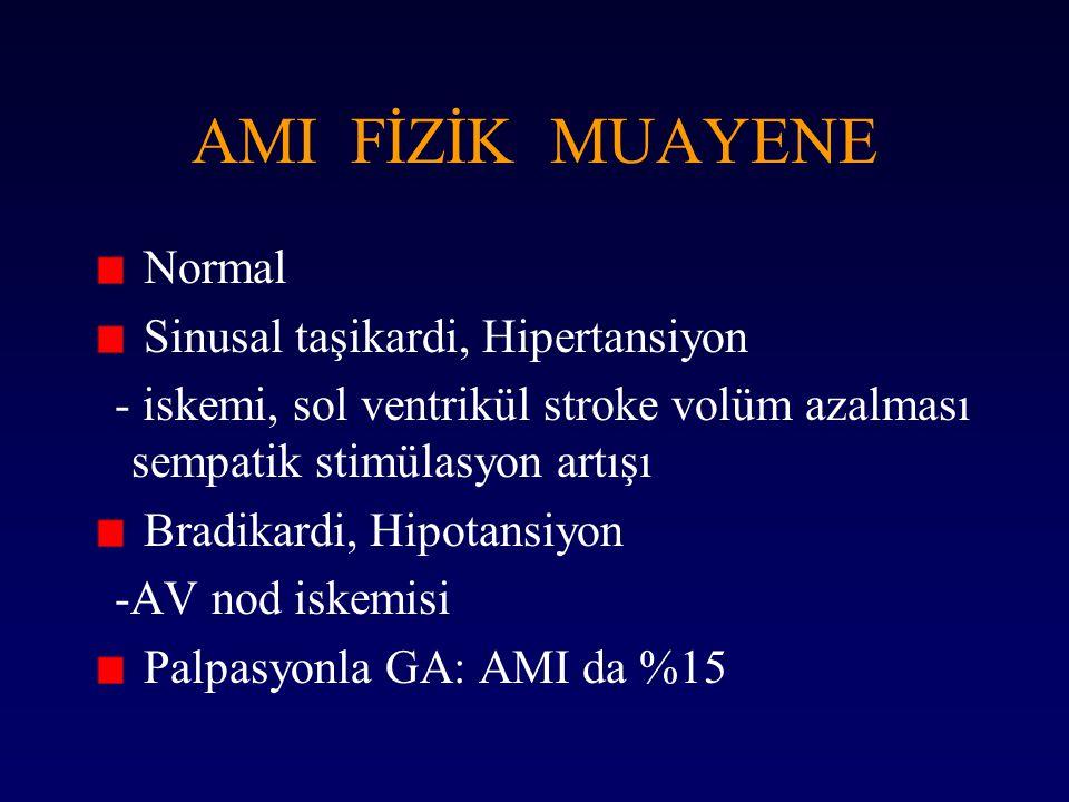 AMI FİZİK MUAYENE Normal Sinusal taşikardi, Hipertansiyon