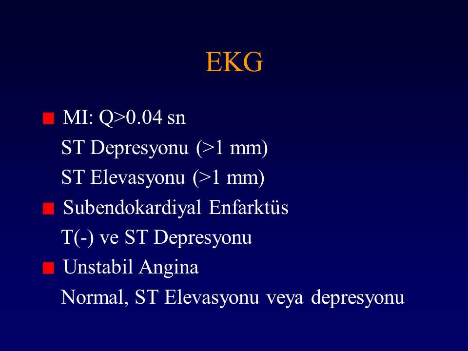 EKG MI: Q>0.04 sn ST Depresyonu (>1 mm) ST Elevasyonu (>1 mm)