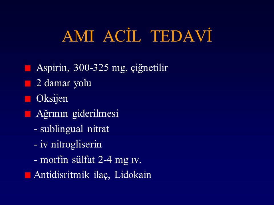AMI ACİL TEDAVİ Aspirin, 300-325 mg, çiğnetilir 2 damar yolu Oksijen