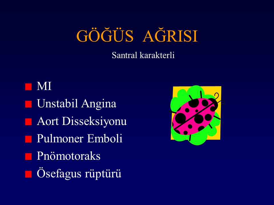GÖĞÜS AĞRISI MI Unstabil Angina Aort Disseksiyonu Pulmoner Emboli