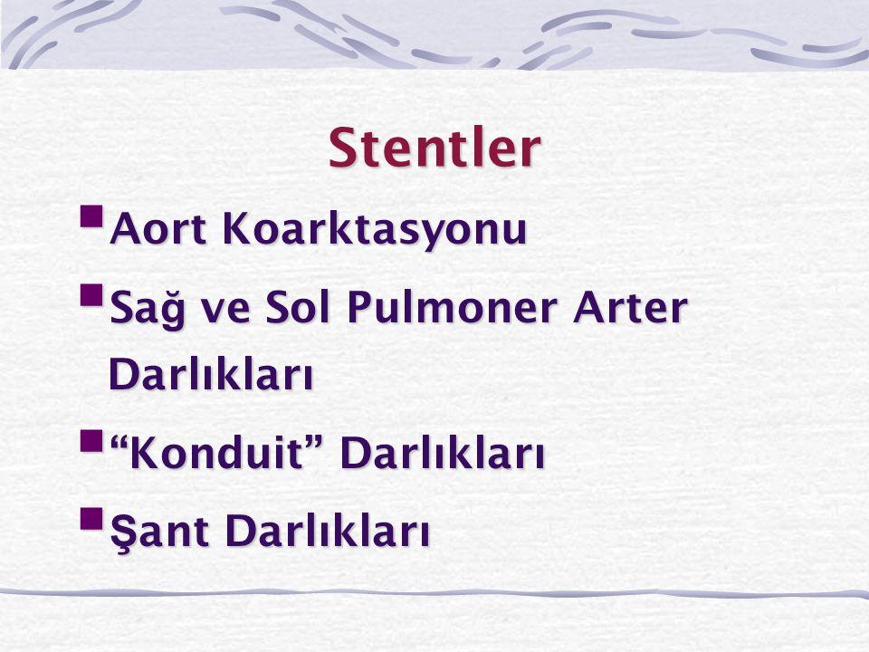 Stentler Aort Koarktasyonu Sağ ve Sol Pulmoner Arter Darlıkları