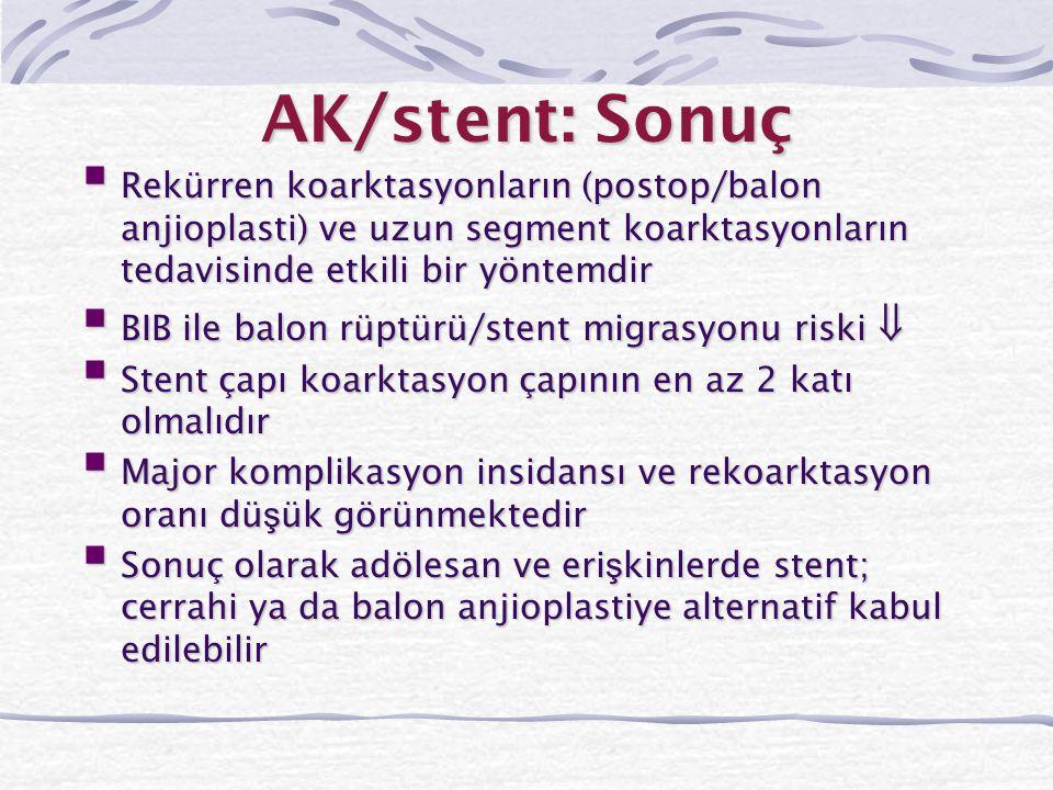 AK/stent: Sonuç Rekürren koarktasyonların (postop/balon anjioplasti) ve uzun segment koarktasyonların tedavisinde etkili bir yöntemdir.