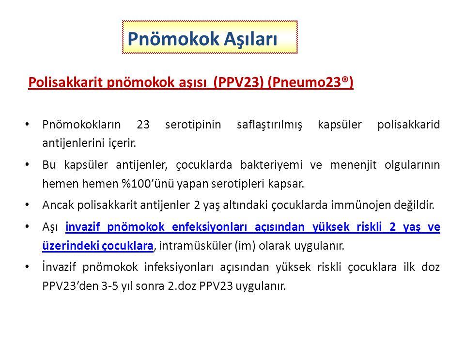 Pnömokok Aşıları Polisakkarit pnömokok aşısı (PPV23) (Pneumo23®)