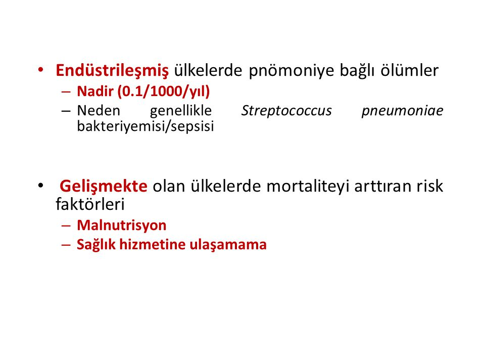 Endüstrileşmiş ülkelerde pnömoniye bağlı ölümler