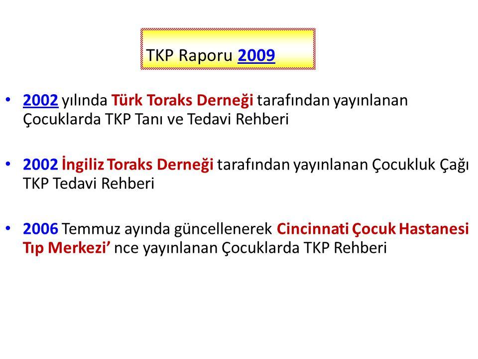 TKP Raporu 2009 2002 yılında Türk Toraks Derneği tarafından yayınlanan Çocuklarda TKP Tanı ve Tedavi Rehberi.
