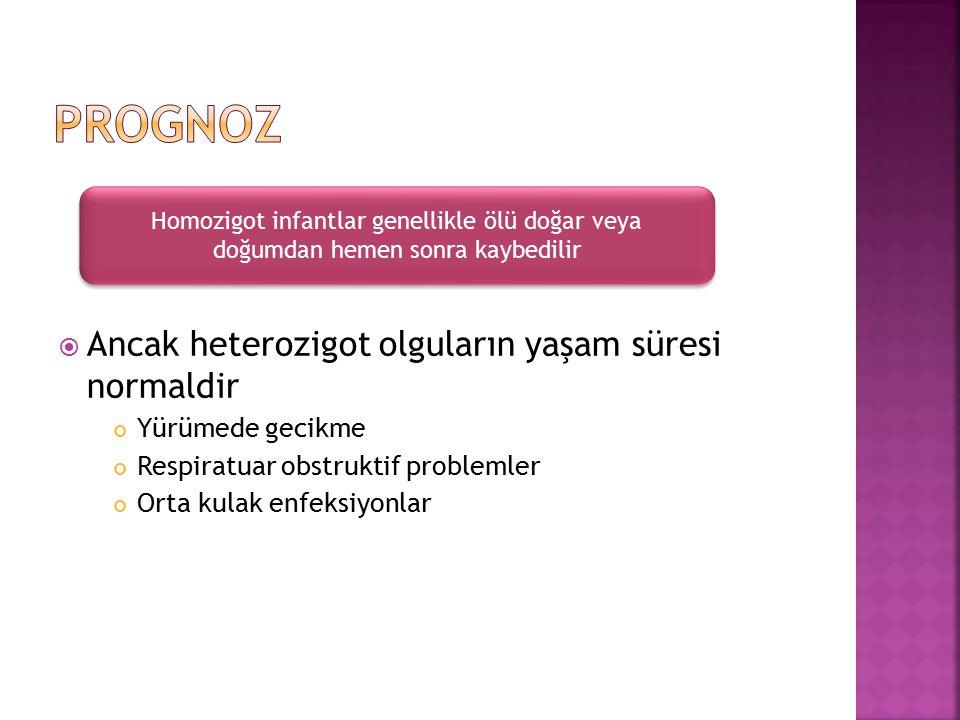 PROGNOZ Ancak heterozigot olguların yaşam süresi normaldir