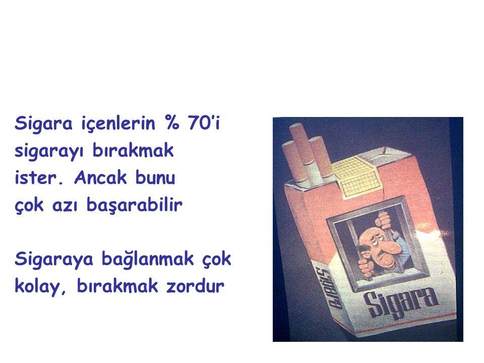 Sigara içenlerin % 70'i sigarayı bırakmak. ister. Ancak bunu. çok azı başarabilir. Sigaraya bağlanmak çok.